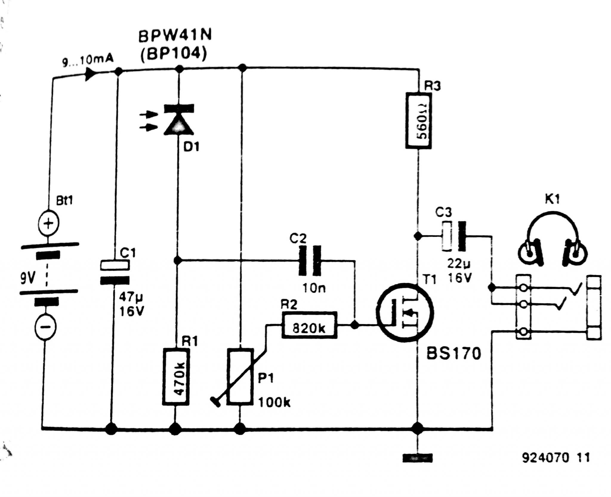 Infra Red Headphone Receiver Circuit Diagram