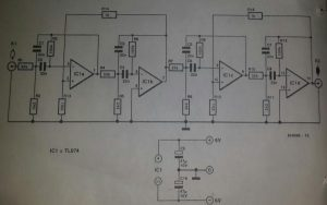 Bandpass filter with extra feedback Schematic diagram
