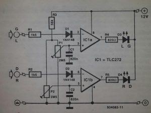 Peak level indicator amplifier Schematic diagram