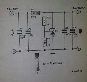Presettable shunt regulator Schematic diagram