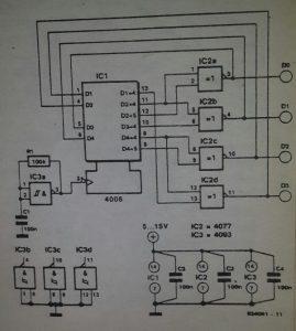 4-bit random generator Schematic diagram