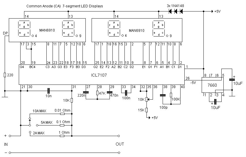 Simple Digital LED Ammeter Using ICL7107 schematic