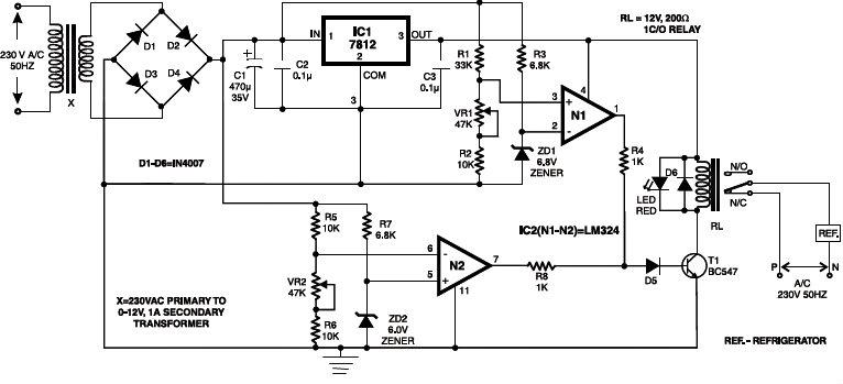 Electrical Appliances Over Under Volt Protection Circuit Diagram Schematic