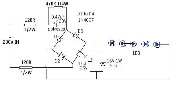 simple 220 high voltage led driver -230 volts led lamp circuit diagram