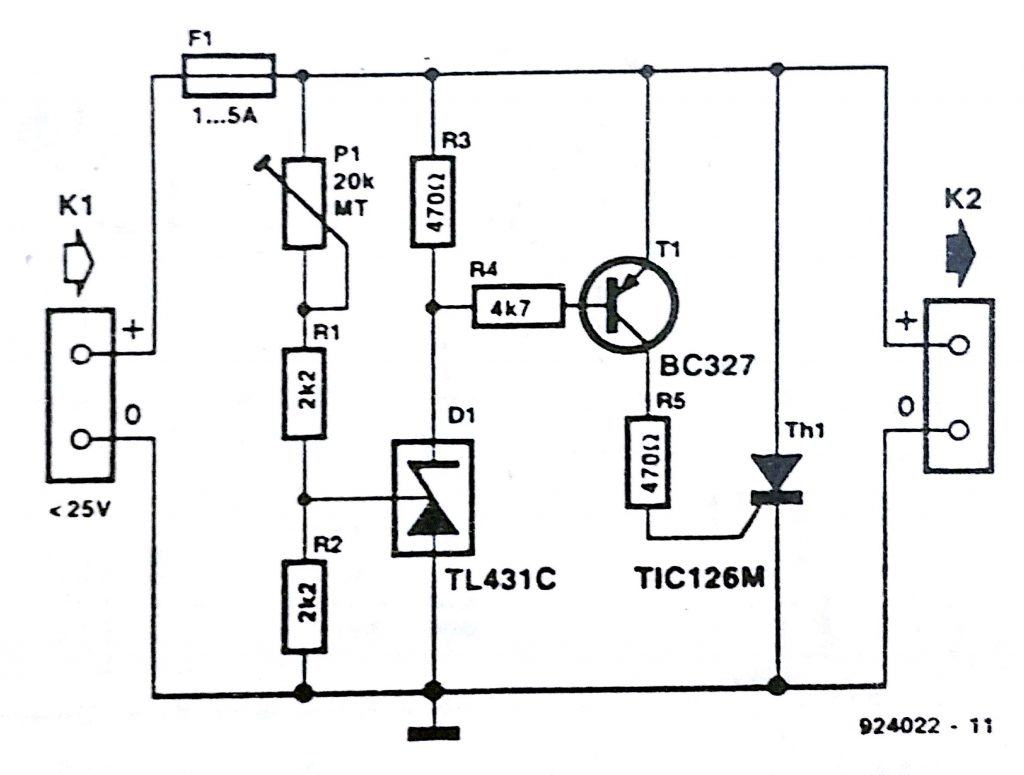 crowbar over voltage protection circuit