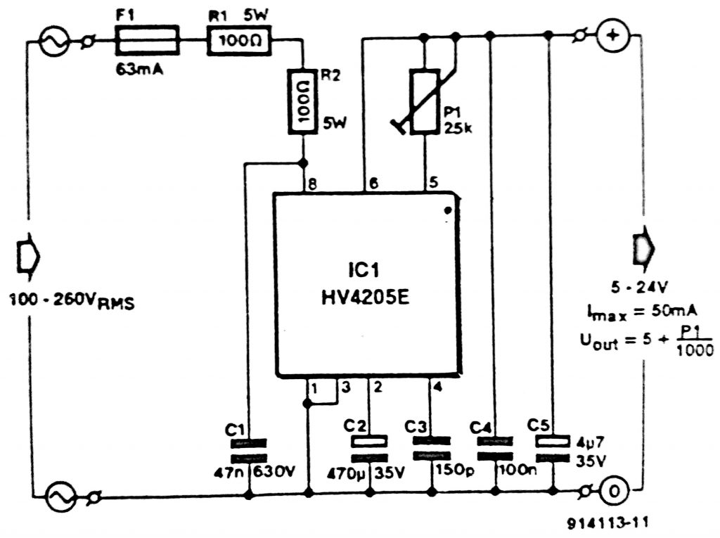 Single Chip Mains Supply Circuit Diagram Power Inverter