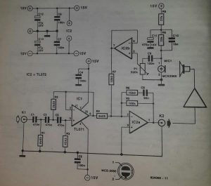 Active bass correction Schematic diagram