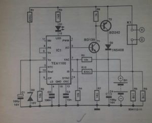 Battery charging regulator Schematic diagram