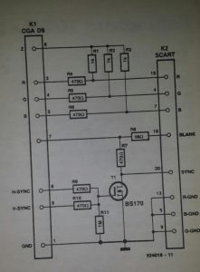CGA-SCART adaptor Schematic diagram