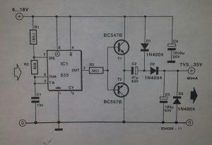 Simple d.c.-to-d.c. converter Schematic diagram