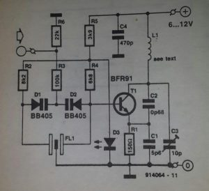 UHF remote control transmitter Schematic diagram