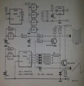 Storage oscilloscope tester Schematic diagram