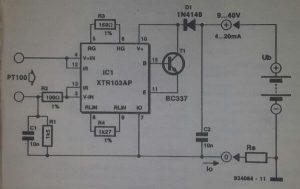 Temperature-to-current converter Schematic diagram
