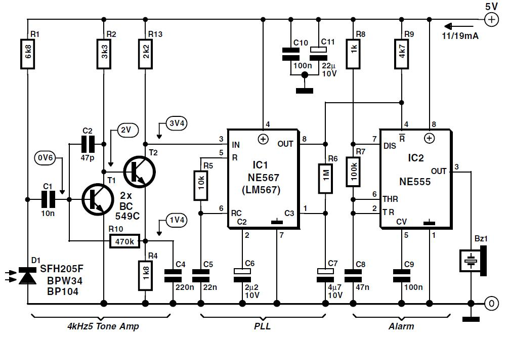 Infra-Red Light Barrier Schematic Circuit Diagram 2