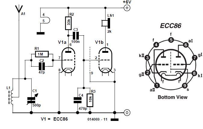ECC86 Valve Radio Schematic Circuit Diagram
