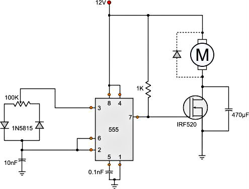 Circuit Diagram For DC Motor Speed Control Using PWM