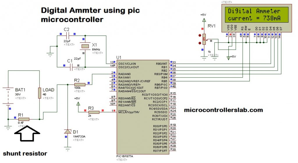 Digital Ammeter Circuit Diagram Using Microcontroller