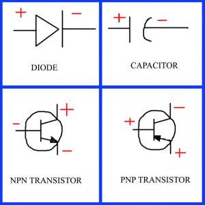 schematic symbol component connection scheme- Components connectivity and polarity
