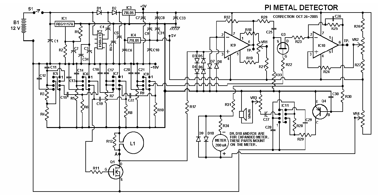 Schematic Diagram Of Circuit Free Wiring For You 150w Power Amplifier Metal Detector Project In Pdf Blinker Board