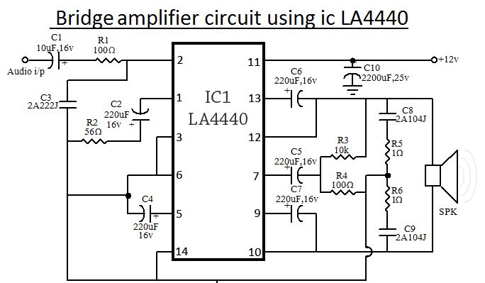 LA4440 IC Amplifier Circuit Diagram Bridge 1 4440 ic amplifier circuit diagram circuit and schematics diagram ic schematic diagram at couponss.co