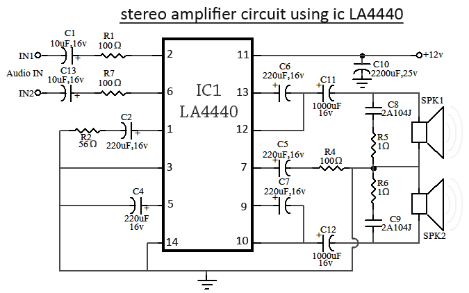 LA4440 IC Circuit Diagram for Stereo mode 1 4440 ic circuit diagram circuit and schematics diagram ic schematic diagram at couponss.co
