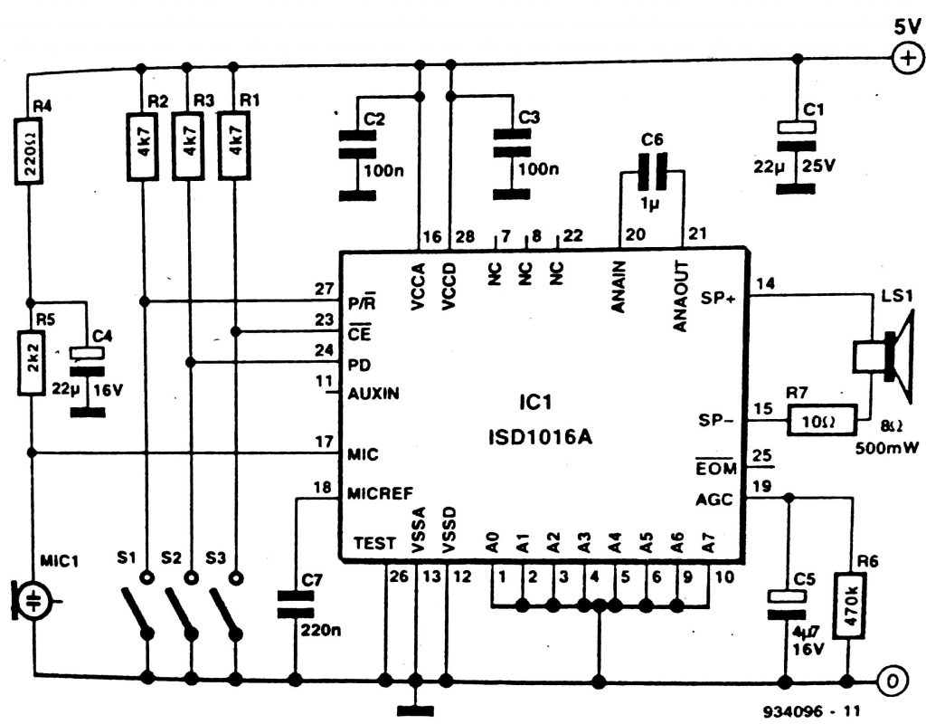 Solid state Voice recorder circuit Diagram