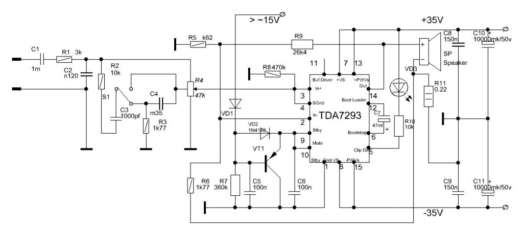TDA7293 : High Power 120V/100W Amplifier Circuit Diagram