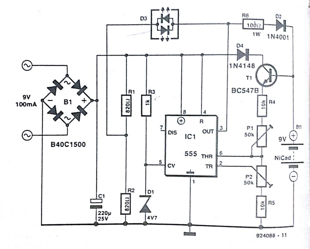 Automatic nicd battery charger circuit diagram nicd battery charger ccuart Gallery