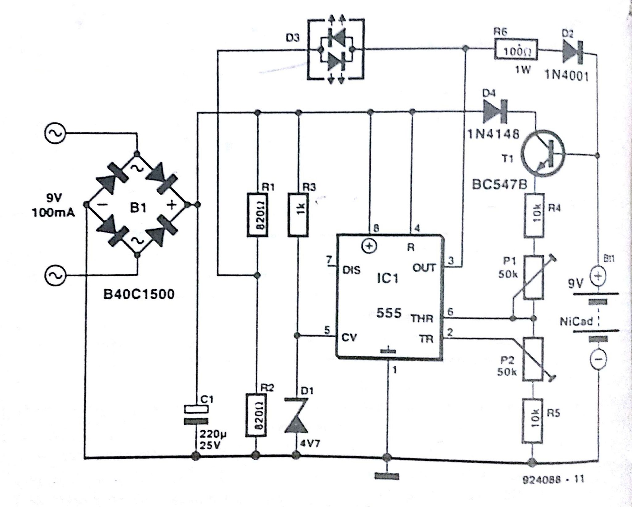 Automatic nicd battery charger circuit diagram nicd battery charger ccuart Image collections