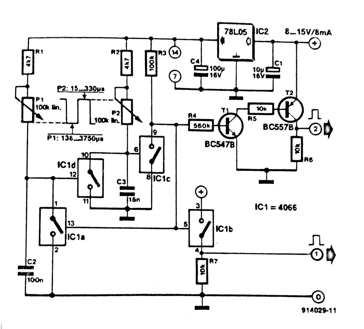 Pulse Generator With One 4066 Circuit Diagram Simple Touch Switch Using 555 Ic Meanwhile 1c Is Closed So That C2 Discharged 1a Opened And C3 Charged Via P2 When The Voltage Across Has Reached A