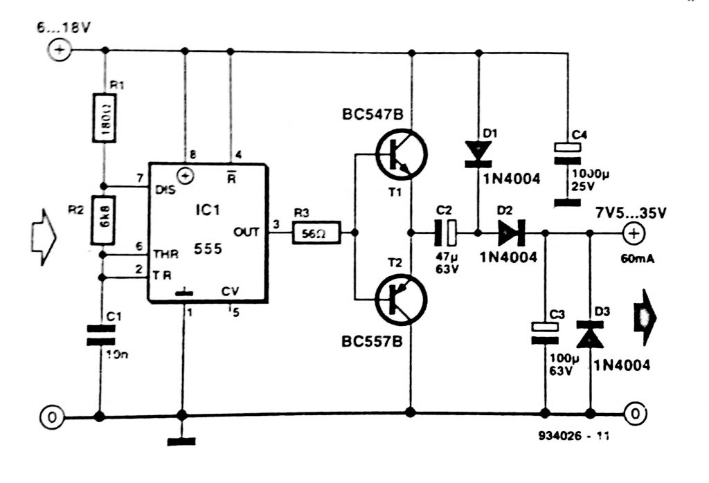simple dc to dc converter using 555 ic timer