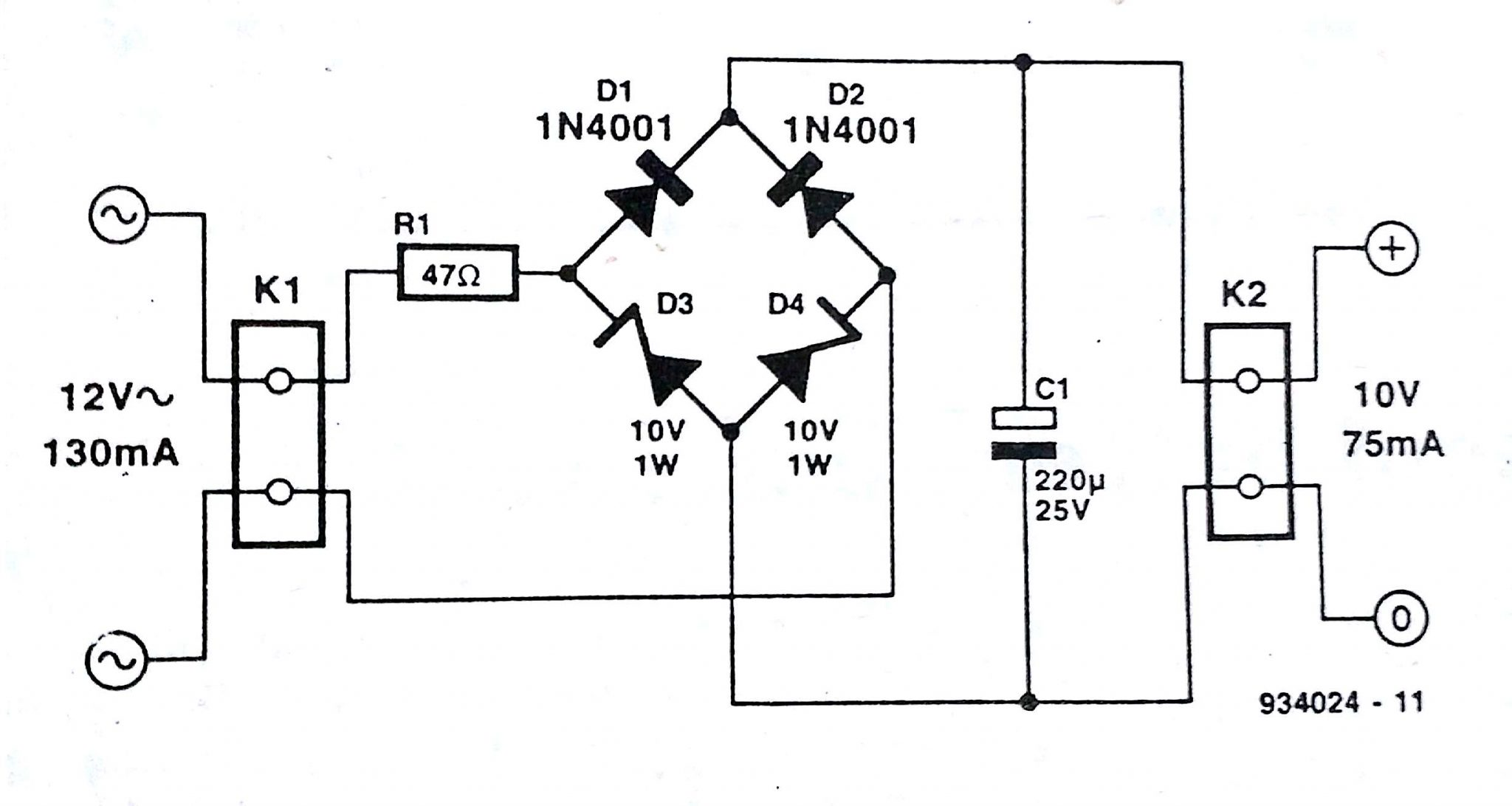 Zener Bridge Rectifier Circuit Diagram And Or