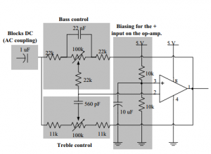 Figure 9- Examining the tone control circuit.