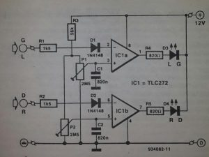 Peak level indicator amplifier Schematic diagram