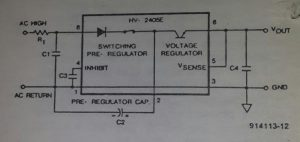 Single-chip mains supply Schematic diagram