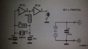HCT crystal oscillator Schematic diagram