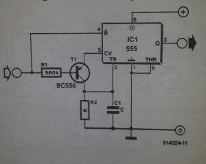 Time delay with one 555 Schematic diagram