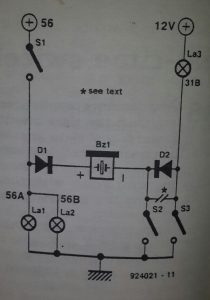 Car lights alert Schematic diagram