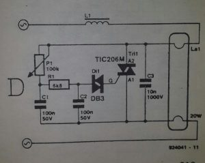 Dimmer for neon tubes Schematic diagram