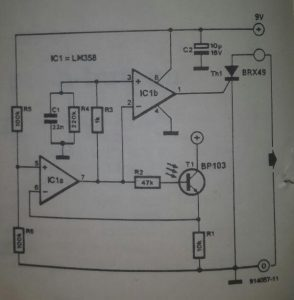 LED indicator for temperature logger Schematic diagram