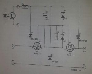 Low-drop a.c. switch for 12 V halogen lights Schematic diagram