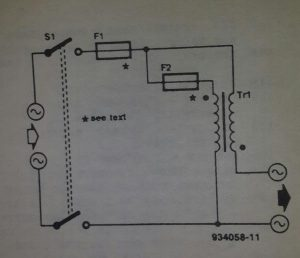 Power booster for slide projects Schematic diagram