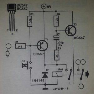 Pulse-operated relay Schematic diagram
