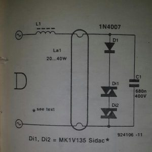 Sidac neon tube starter Schematic diagram