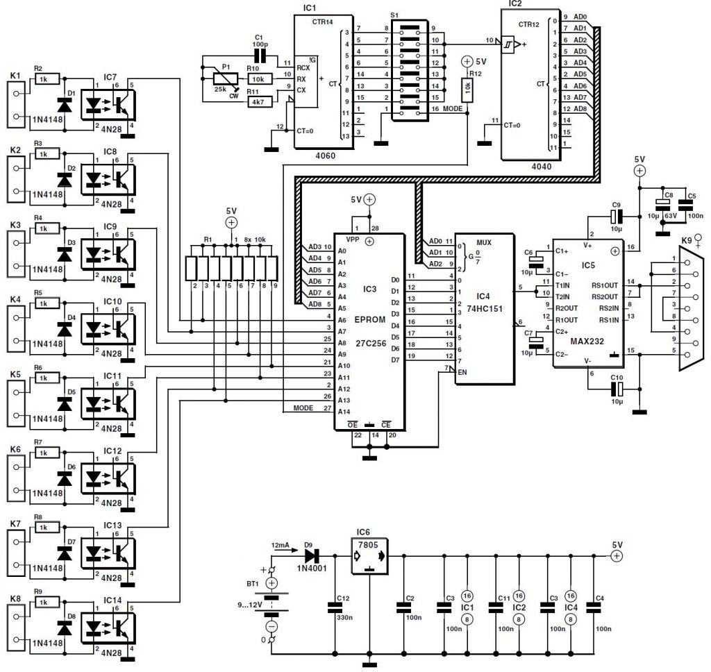 8 Channel D I Card for RS232 Schematic Circuit Diagram 2