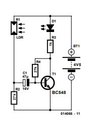 LED-LDR Blinker Schematic Diagram