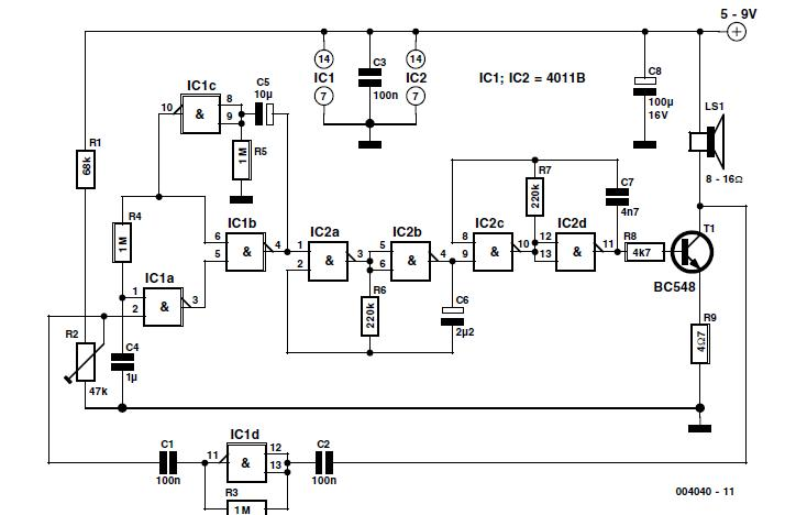 Noise-Driven Sound Generator Schematic Circuit Diagram