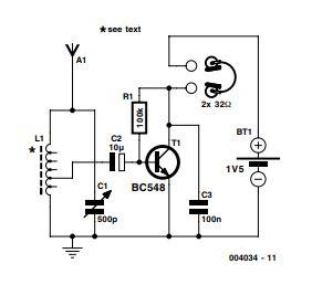 One Transistor Radio Schematic Diagram