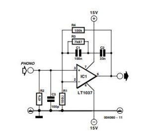 Simple MD Cartridge Preamplifier Schematic Diagram