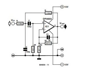 Single-Opamp 10-MHz Bandpass Filter Schematic Diagram